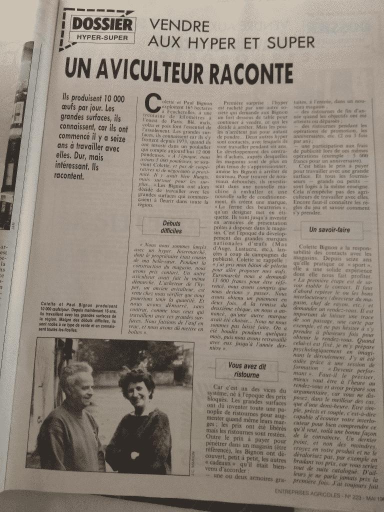 Mr et Mme Bignon Paul et Colette racontent l'aviculture